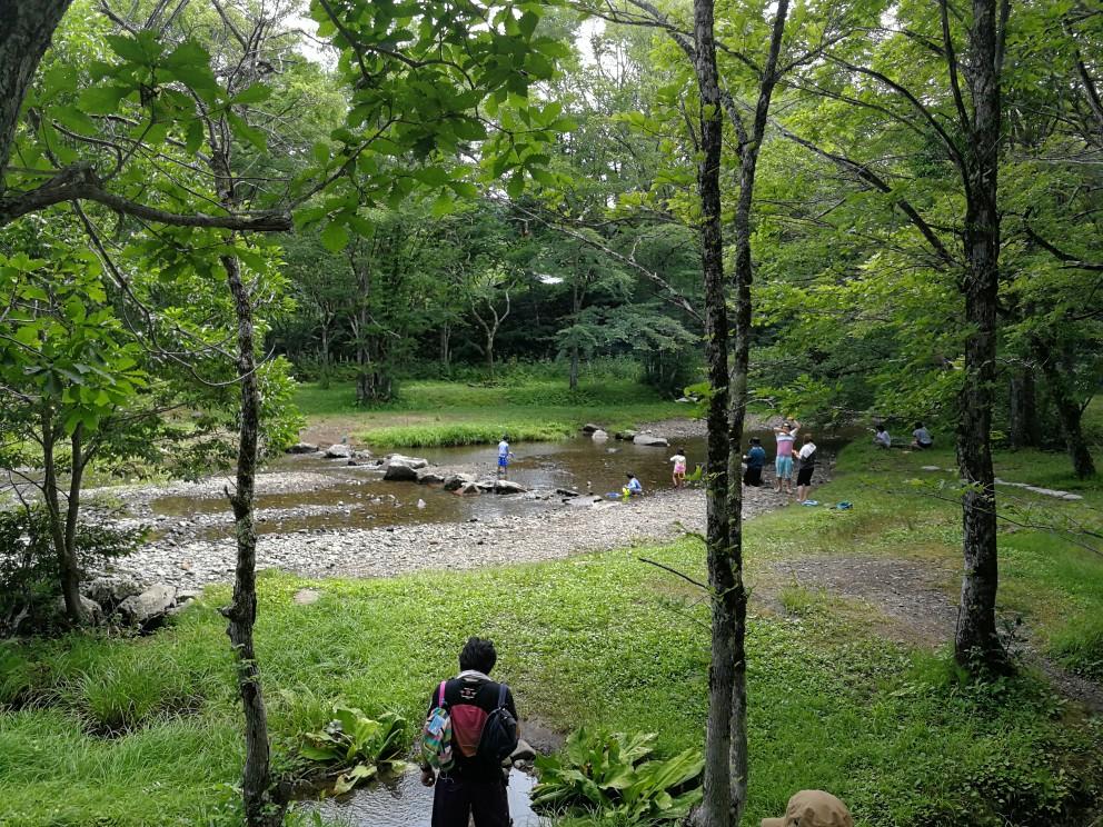 戸隠キャンプ場内の川